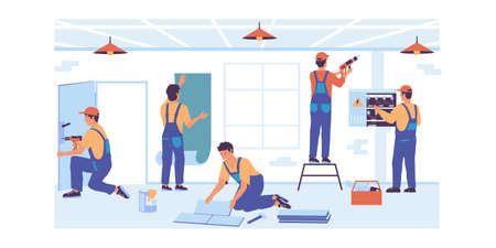 Home repair. Cartoon service workers make renovation. Professional builders brigade gluing wallpaper or laying floor tiles. Electrician working with wires of electrical system. Vector foreman job