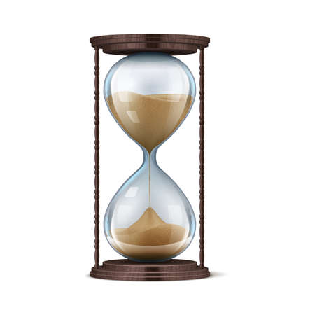 Wooden hourglass. Realistic glass sand clock. 3D stopwatch on brown stand. Old-fashioned chronometer for countdown. Falling particles in transparent flasks measure time. Vector isolated vintage watch