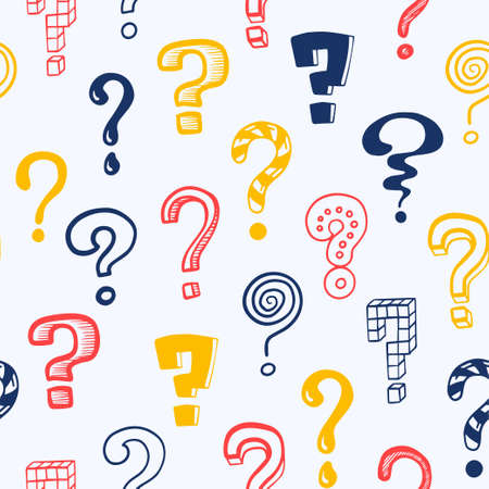 Question mark pattern. Doodle seamless texture mockup with colorful interrogation symbols. Creative hand drawn isolated repeated asking signs. Vector punctuation icon consisting of dot and curved line