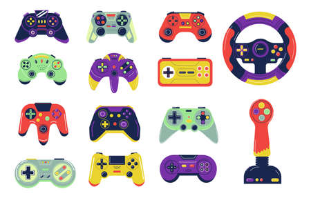 Joysticks. Cartoon controllers for console video gaming. Colorful gamepads control character and transport or aircraft. Isolated wireless devices with buttons. Vector gadgets set for playing games