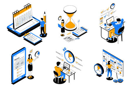 Time management. People organize productive workflow and effective schedule. Cartoon men or women successfully complete multitasking work on deadline and achieve priority goals. Vector office workers