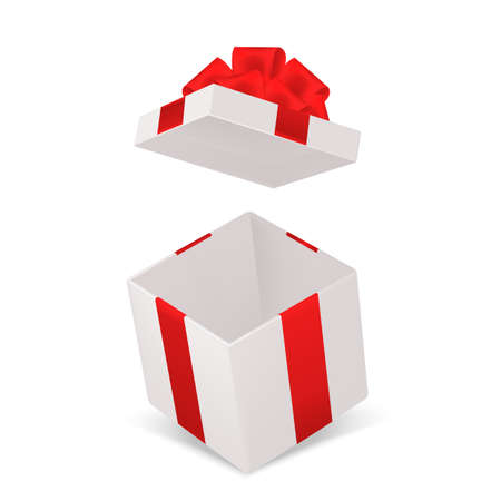 Open gift box. Realistic cardboard cube container with red bow angle view. Decorative empty pack mockup. Holiday or birthday surprise. Vector 3d surprise package isolated illustration