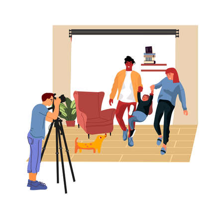 Family photo session. Cartoon photographer taking pictures of happy parents and child. Man professional shooting photography in studio. Cute people posing with dog, vector illustration Ilustração Vetorial