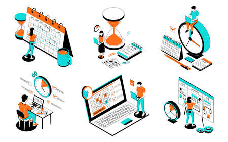 Task schedule. Office people organize effective work. Employees making timetable of meetings and events using electronic app or writing goals on whiteboard or organizer. Vector planning Ilustración de vector