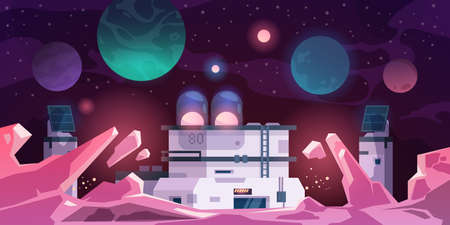Alien colony. Astronaut base on stranger planet. Cartoon landscape with futuristic constructions. Scientific laboratory for space exploration. Vector extraterrestrial cosmic panorama