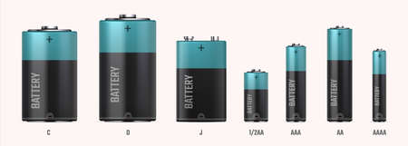 Battery types. Realistic electric alkaline cells. 3D different size or capacity accumulators in row. Black cylinders with blue stripe. Tools for charging electrical devices, vector set