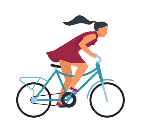 Girl on bike. Cartoon woman riding bicycle fast. Profile view of young female on wheel transport. Isolated hurrying cyclist. Outdoor workout or sport competition. Vector illustration Vettoriali
