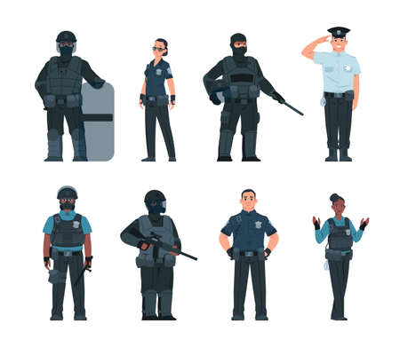Police officers. Policeman and security guard persons with various ammunition. Standing male and female cops set. Patrolman holding shield and weapon. Vector defenders of law and order