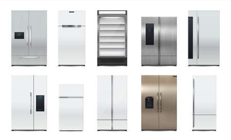 Fridge. Modern kitchen refrigerator. Realistic 3D household appliances set. storage for food products and drink bottles. Cooling equipment for home. Vector white or metal coolers