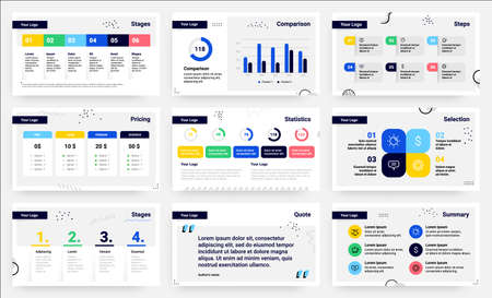 Presentation slides. Infographic pages. Analytical or statistical diagrams. Flowchart sequences template set. Information comparison graphs. Vector report visualization with copy space