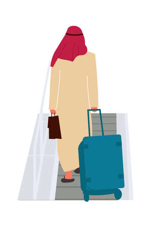 Arab man in airport. Passenger walks with baggage. Back view of Arabian male on escalator in departure terminal. Character in white traditional east suit and red scarf, vector tourist