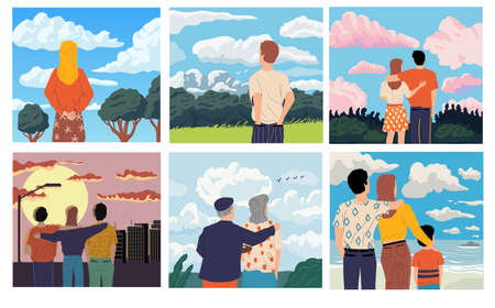 People looking forward. Men and women admiring scenery. Old or young characters spend time outdoor. Scenic landscape and cityscape. Vector persons from behind watching natural view Vektoros illusztráció