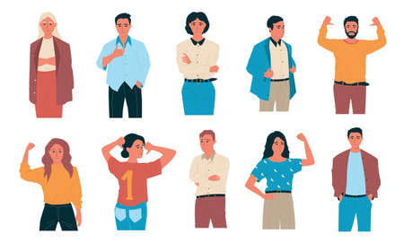 Confident people. Happy cartoon students and office characters. Standing successful workers with self-affirmative gestures. Smiling men and women achieved goals. Vector team leaders set