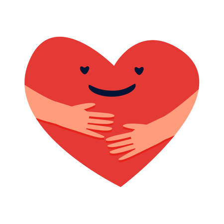 Cartoon hugged heart. Love yourself concept. Red symbol with smiling face in embrace. Romantic Valentine minimal sign. Doodle logo template. Charity support. Vector cardiology icon