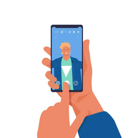 Man taking selfie on phone. Cartoon character shooting photos of himself on smartphone. Young male holding mobile and touching button on device screen. Vector person making snapshot