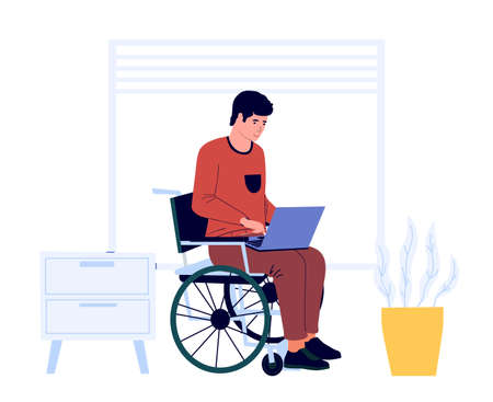 Disabled man work at home. Male sits in wheelchair with laptop. Accessible job for handicapped people. Freelance worker occupation. Equal opportunities for invalids. Vector illustration
