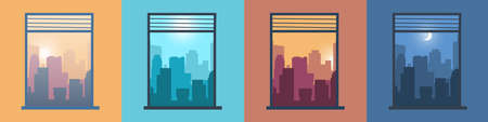Landscape in window. City view from home. Morning or evening cityscapes set. Scenery at different day times. Silhouettes of buildings illuminated by sun and moon. Vector downtown panorama