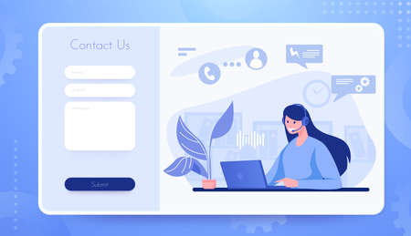 Contact us landing page. Customer support website interface. Mailbox for sending web messages to helpdesk. Online assistance form template. Vector communication of client with consultant