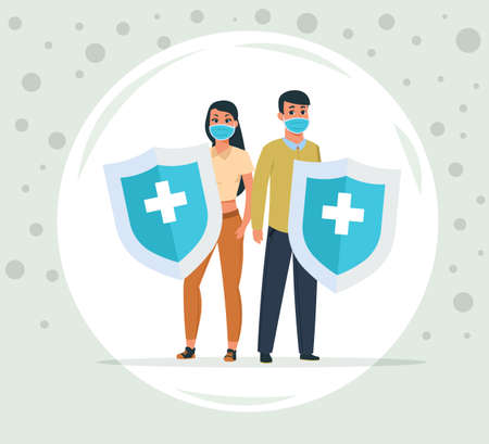 Protection against viruses and bacteria. Man and woman protected from coronavirus. People under dome wear face masks and hold shields with plus symbols. Vector viral diseases prevention Stock Illustratie