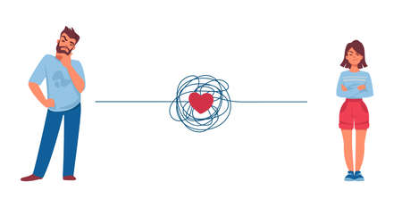 Relationship problem. Couple conflict concept. Quarreling man and woman. Red heart and tangled thread between partners. Divorce or troubles in communication. Vector disputed people