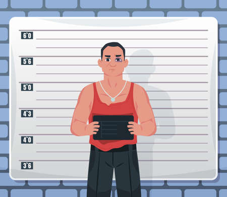 Mugshot. Arrested male criminal suspect holding board with name. Convict bandit. Photography of killer or prisoner against background of wall with markings of height. Vector gangster Stock Illustratie
