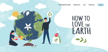 Earth recycle landing page. Website interface. World environment ecology and rubbish recycling company. People care of nature. Planting trees and garbage reuse. Vector web UI template