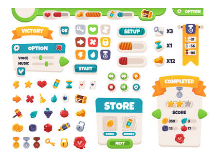 Game UI buttons. Mobile application interface elements. Cartoon colorful design. Progress bar, panel and indicators. Video gaming menu kit. Isolated medals and prizes. Vector arcade set