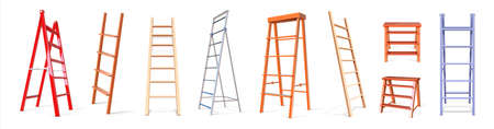 Ladder construction. Realistic wooden and metal staircase equipment, 3D stepladder collection. Isolated vertical tools for climbing. Repairs instruments with steps. Vector stairways set Stock Illustratie