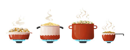 Cooking pot. Cartoon saucepan and kitchenware equipment on gas with boiling food and steam. Utensil for preparing meal on fire. Household crockery set. Vector side view of dinnerware Stock Illustratie