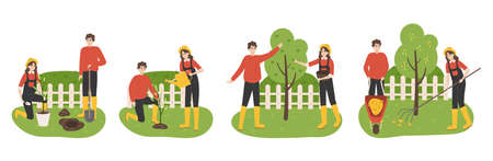 Planting tree. Family working in garden. Couple digging soil and watering seedlings in spring. Agricultural workers harvesting and collecting fallen leaves in autumn. Vector gardening