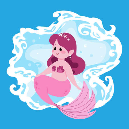 Cute fairy mermaid. Little girl with pink fish tail. Cartoon marine princess and ocean waves. Funny mythological water nymph. Happy young seamaid. Vector fictional underwater character Stock Illustratie