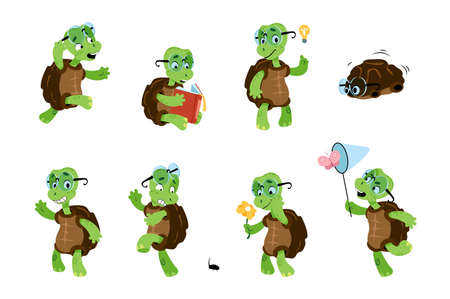 Cartoon turtle. Green child tortoise. Baby marine animal character with different poses and emotions. Funny reptile with carapace wears glasses. Vector aquatic terrapin activities set
