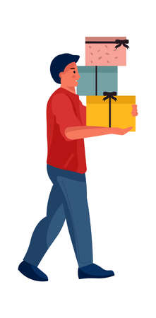 Man holding gift box. Cartoon character carries wrapped containers with ribbons. Isolated male makes holiday shopping. Give and take presents. Vector celebrate Christmas or birthday