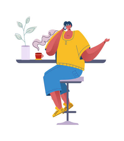 Coffee break. Man drinks hot beverage. Cartoon character sitting at tables and communicating. Young male talking on smartphone in cafe or bar. Vector boy holding cup with rising steam