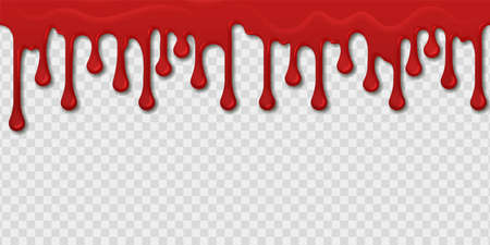 Blood seamless pattern. Realistic red paint drops and splashes on transparent background. Bleeding template. Bright spooky dripping border. Bloody oozing stain. Vector murder texture Stock Illustratie