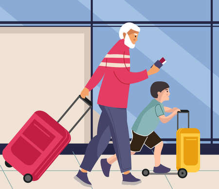 Family in airport. Man and boy walks with baggage. People rolls suitcases on wheels. Male and grandson going to aircraft landing. Vector passengers with luggage in departure terminal Stock Illustratie