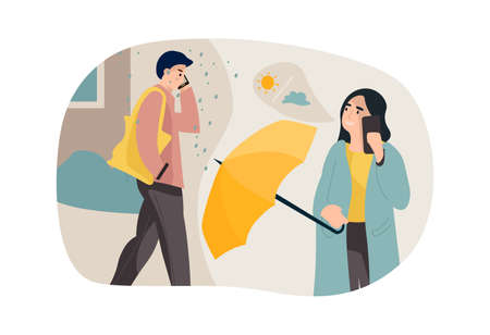 Couple communicating through phone. Cartoon people talking with smartphones. Woman calling and warning man about rainy weather. Characters using mobile devices. Vector conversation Stock Illustratie