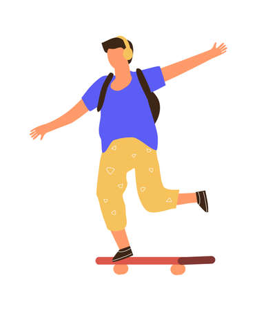 Man on skateboard. Cartoon boy riding board. Young male listening to music with headphones. Teenager balancing on longboard. Extreme city outdoor activities. Vector skateboarders motion