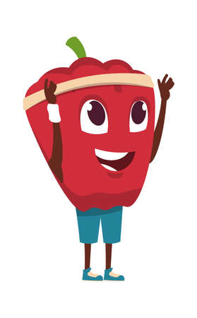 Vegetable character. Cartoon red pepper exercising. Healthy food sport training. Funny happy mascot raising hands. Sportsman doing yoga, standing in asana. Vector dieting and workout