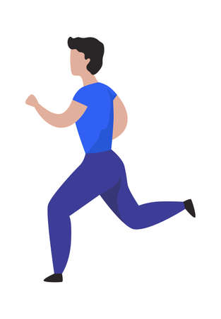 Running man. Cartoon character jogging. Sport activity. Isolated male doing exercises. Muscular sportsman training outdoor or in gym. Healthy lifestyle. Vector workout illustration Stock Illustratie