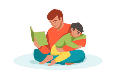 Family scene. Cartoon father reading book to son. Man sitting in lotus pose and hugging boy. Kid in dads embrace. Parent and baby spending time together. Vector male teaching child