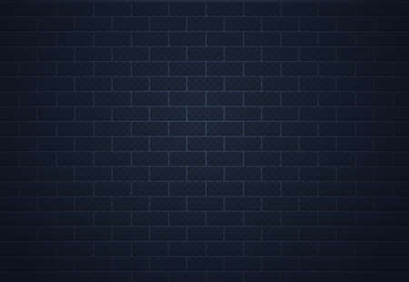 Brick dark wall. Realistic grunge cement surface. Brickwork background. Building exterior template. Concrete rectangular blocks texture. Industrial backdrop. Vector architectural facade
