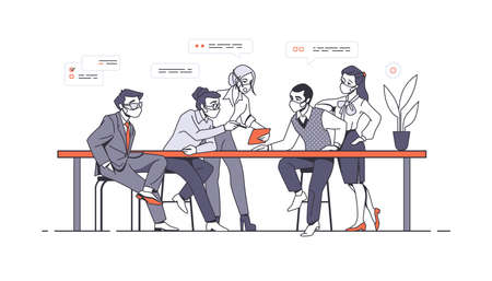 Work team. Office workers meeting and brainstorming. Employee characters wearing protective masks. Covid-19 prevention. Men and women sitting at table and communicate. Vector teamwork Stock Illustratie