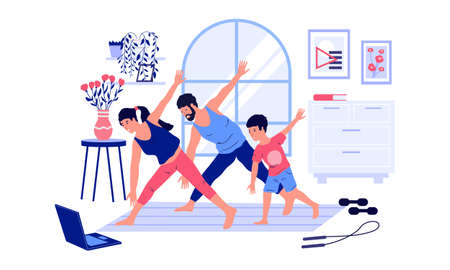 Family workout. Home sport activities with kids. People watch online video instruction and training. Parents with son doing fitness exercises together. Vector healthy active lifestyle