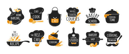 Cook logo. Restaurant kitchen chef emblems, bakery and cookery badges set. Black stickers with lettering and cooker hat or utensil. Food preparing course signs. Vector label templates