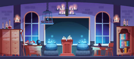 Magic school. Magician classroom interior with potion, spell book or broom. Witchcraft laboratory. Room furnishing with bookcases and candles. Vector sorcerer workspace illustration Stock Illustratie