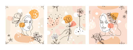 Woman line pattern. Seamless female face painting for fashion print, beauty sketch. Human faces and flowers. Pastel background with decorative floral elements. Vector portraits set