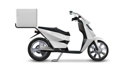Scooter for delivering. Realistic motorbike. Side view of 3D vehicle with square box for shipping restaurant orders. Fast couriers moped. Corporate identity template. Vector motorcycle