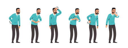 Sick man. Cartoon character with pain in stomach and back. Unhappy male feeling ill. Standing person with headache and heartache. Various diseases symptoms set. Vector coughing patient