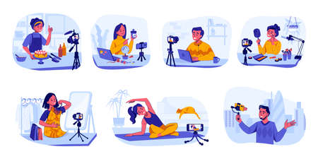 Bloggers and vloggers. Influencers making content for cooking and travel, beauty or fashion video channels. People recording sport training instructions. Vector livestream mukbang blog Stock Illustratie